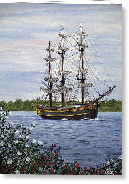 Hms Bounty Greeting Card by Vicky Path