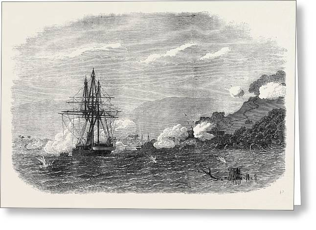 H.m.s. Rinaldo Bombarding Salangore In The Strait Greeting Card by English School