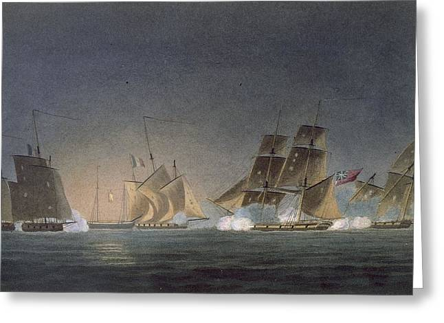 Hms Rinaldo Engaging Four French Greeting Card by Thomas Whitcombe