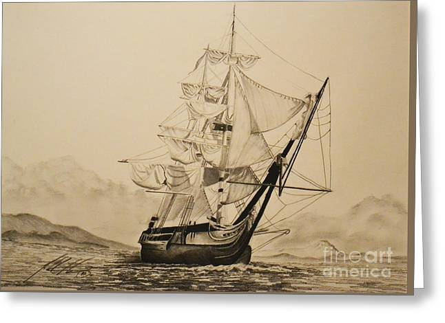 Hms Surprise Greeting Card by John Huntsman