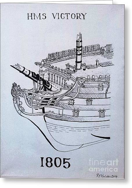 Hms Victory 1805 Greeting Card by Richard John Holden RA