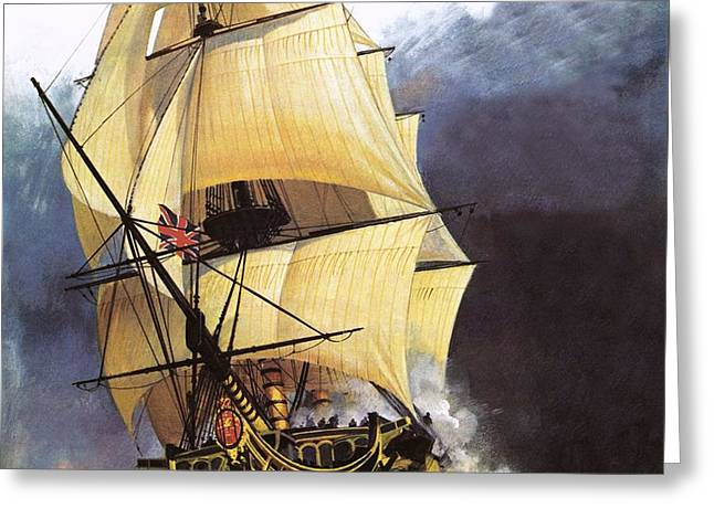 Hms Victory Greeting Card by Andrew Howat