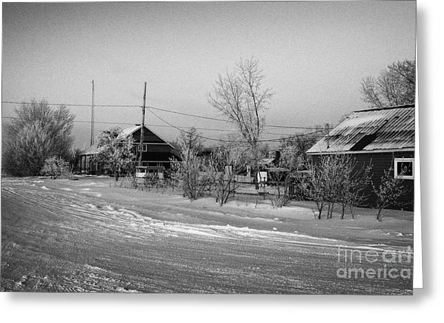 hoar frost covered street in small rural village of Forget Saskatchewan Canada Greeting Card by Joe Fox