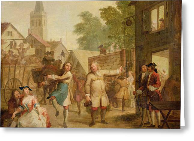 Hob Continues Dancing In Spite Of His Father, C.1726 Oil On Canvas Greeting Card by John Laguerre