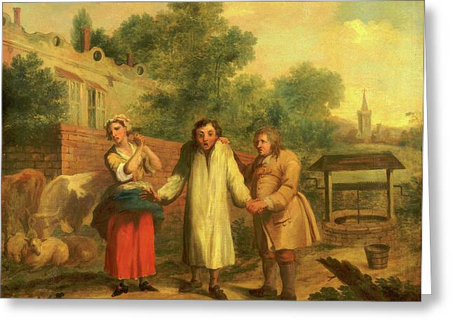 Hob Taken Out Of Ye Well, John Laguerre, 1688-1746 Greeting Card by Litz Collection