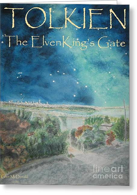 hobbit Tolkien FAA Tolkien Poster 1 Tolkien ElvenKing's Gate Greeting Card by Glen McDonald