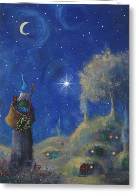Hobbiton Christmas Eve Greeting Card by Joe Gilronan