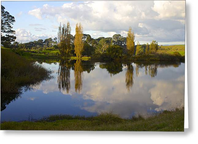 Autumn At Hobbiton Lake New Zealand Greeting Card by Venetia Featherstone-Witty
