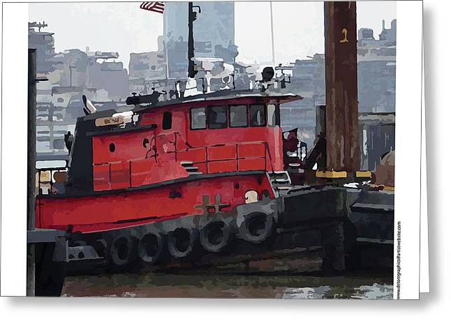 Greeting Card featuring the photograph Hoboken Tug Boat  by Kenneth De Tore