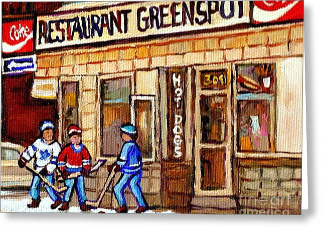 Hockey And Hotdogs At The Greenspot Diner Montreal Hockey Art Paintings Winter City Scenes Greeting Card