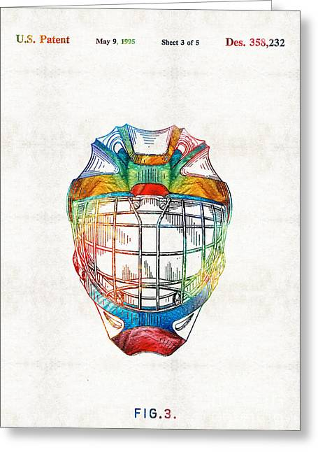 Hockey Art - Goalie Mask Patent - Sharon Cummings Greeting Card by Sharon Cummings
