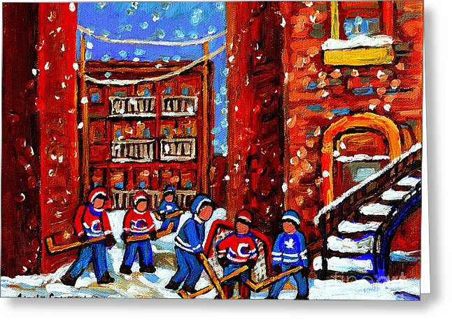 Hockey Art Home Team Advantage Streets Of Montreal Paintings Of Verdun Winter City Scenes Cspandau Greeting Card by Carole Spandau