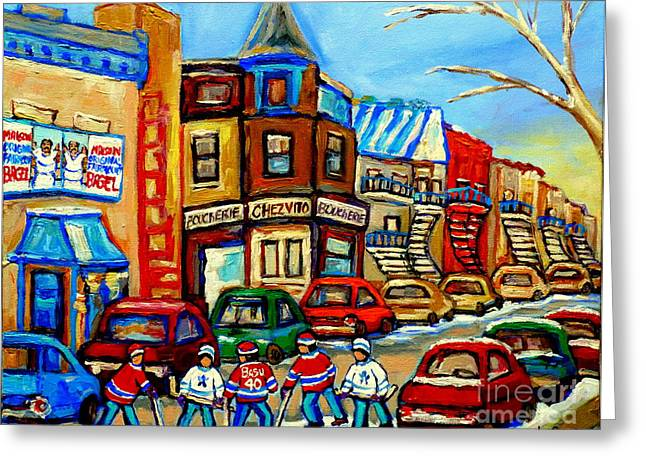 Hockey Art Montreal Winter Street Scene Painting Chez Vito Boucherie And Fairmount Bagel Greeting Card by Carole Spandau