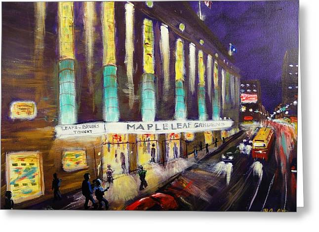 Hockey Night- Maple Leaf Gardens Greeting Card by Brent Arlitt