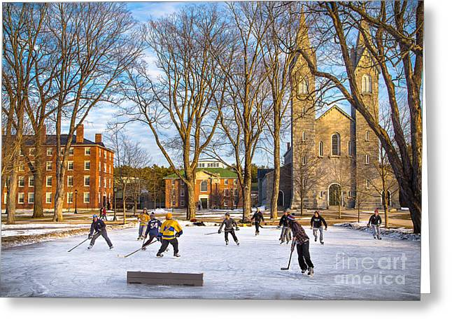 Hockey On The Quad Greeting Card by Benjamin Williamson