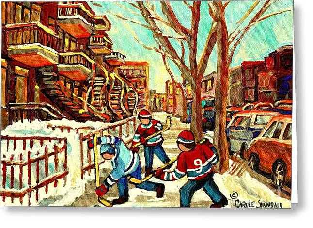 Hockey Paintings Verdun Streets And Staircases  Winter Scenes Montreal City Scene Specialist   Greeting Card by Carole Spandau