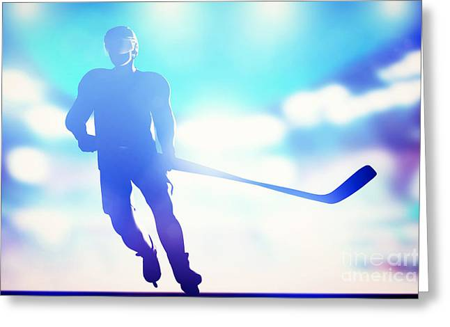 Hockey Player Skating On Ice Greeting Card