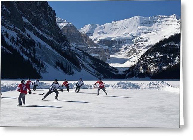 Hockey Players Playing On The Frozen Greeting Card