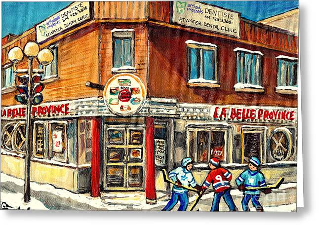 Hockey Practice Near The Hot Dog Restaurant On Notre Dame And Atwater Streets Montreal Paintings  Greeting Card by Carole Spandau