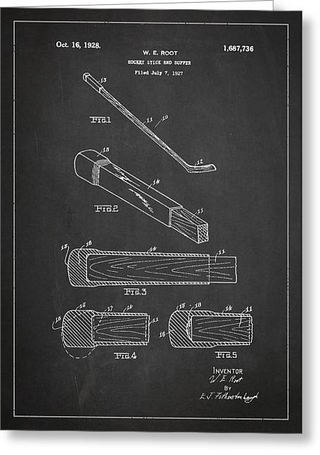 Hockey Stick And Buffer Patent Drawing From 1927 Greeting Card