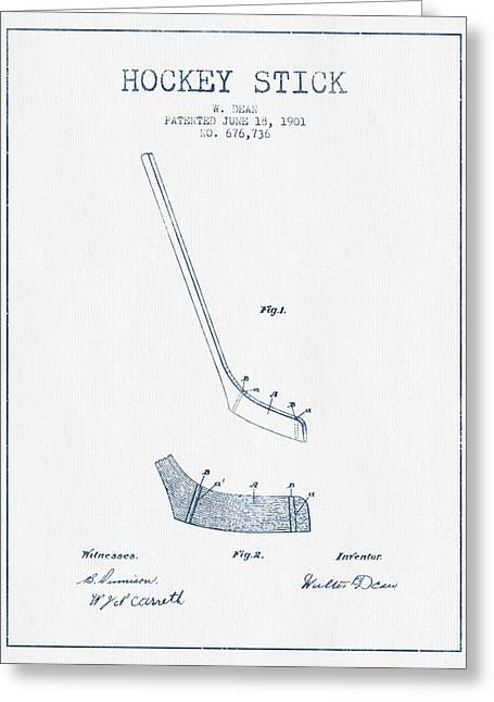 Hockey Stick Patent Drawing From 1901 - Blue Ink Greeting Card by Aged Pixel