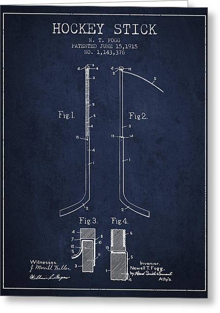 Hockey Stick Patent Drawing From 1915 Greeting Card