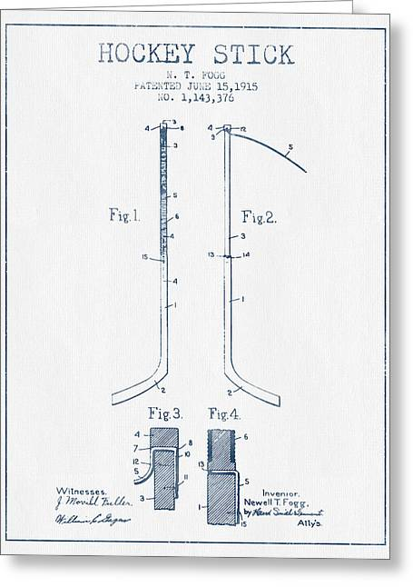 Hockey Stick Patent Drawing From 1915 - Blue Ink Greeting Card