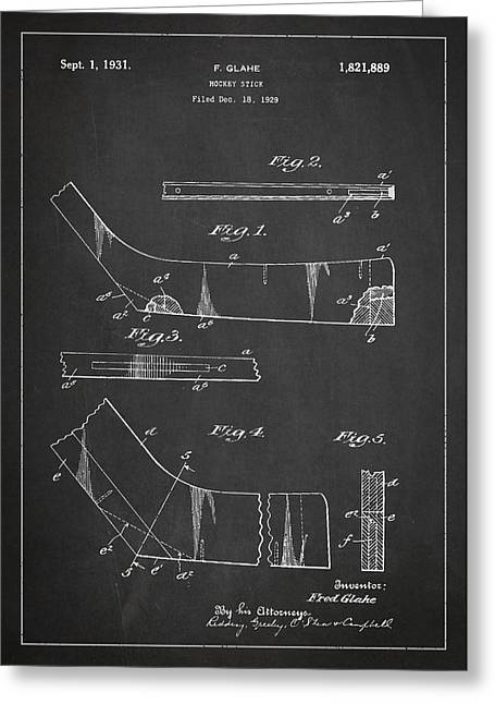 Hockey Stick Patent Drawing From 1929 Greeting Card