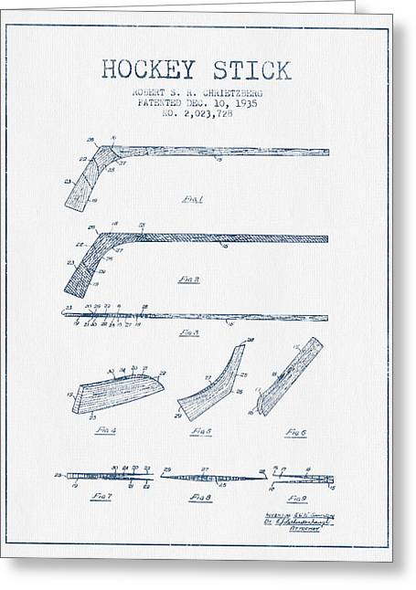 Hockey Stick Patent Drawing From 1935 - Blue Ink Greeting Card