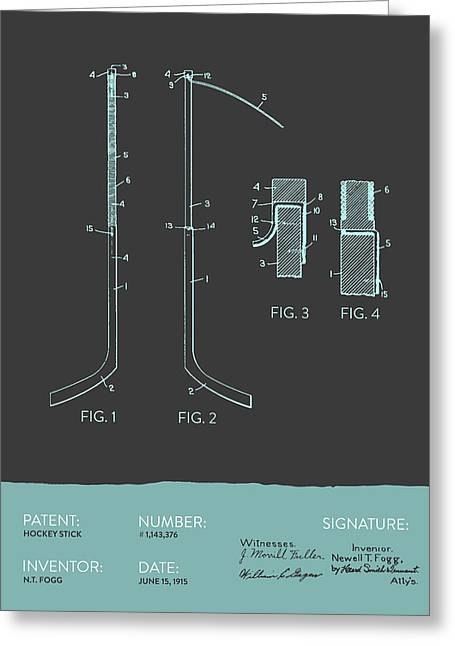 Hockey Stick Patent From 1915 - Gray Blue Greeting Card by Aged Pixel