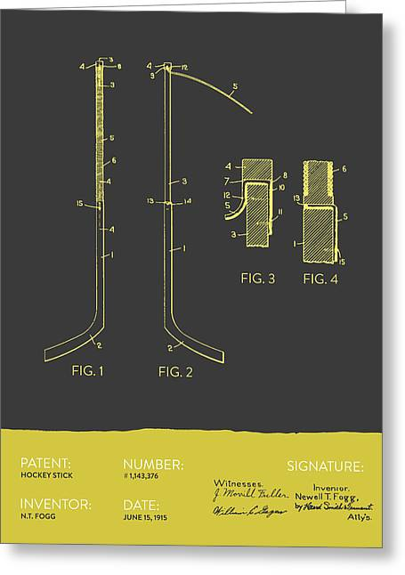 Hockey Stick Patent From 1915 - Gray Yellow Greeting Card by Aged Pixel