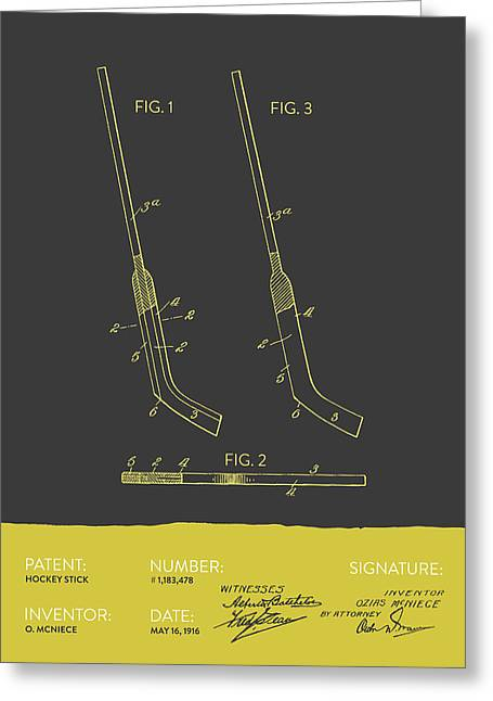 Hockey Stick Patent From 1916 - Gray Yellow Greeting Card by Aged Pixel