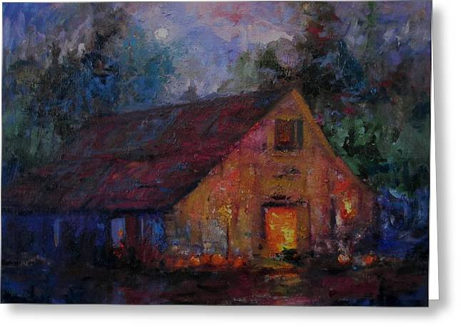 Hoedown At The Old Barn Tonight Greeting Card by R W Goetting