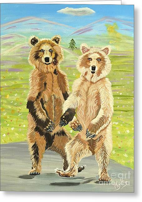 Hoedown On The Tundra Greeting Card by Phyllis Kaltenbach