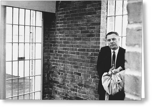 Hoffa Enters Federal Prison Greeting Card by Underwood Archives