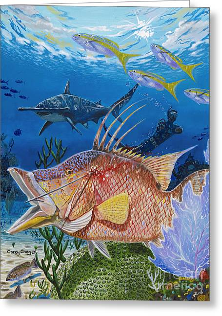Hog Fish Spear Greeting Card by Carey Chen