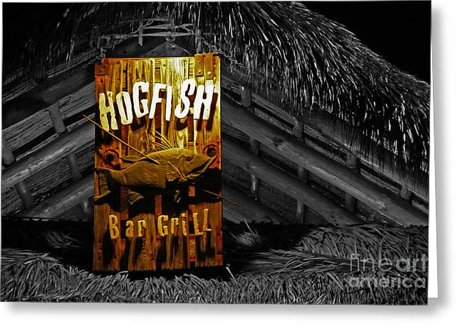 Hogfish Grill On Black Greeting Card