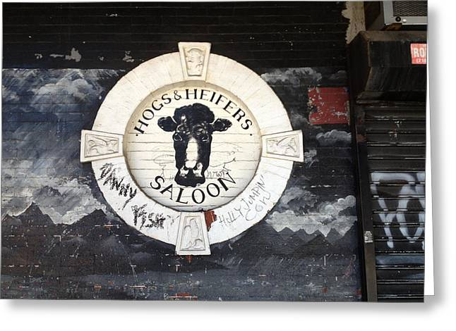 Hogs And Heifers Saloon Sign New York Greeting Card by Tom Wurl