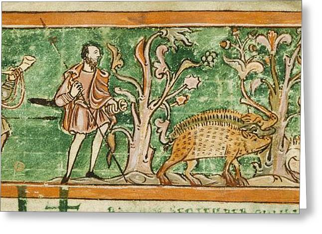 Hogs And Hunting Dogs, 11th Century Greeting Card by British Library