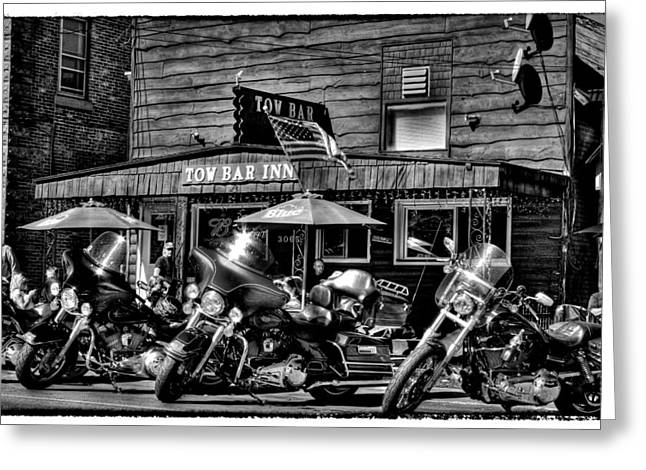 Hogs At The Tow Bar Inn - Old Forge New York Greeting Card by David Patterson