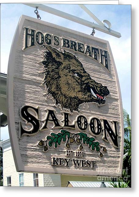 Greeting Card featuring the photograph Hog's Breath Saloon by Fiona Kennard