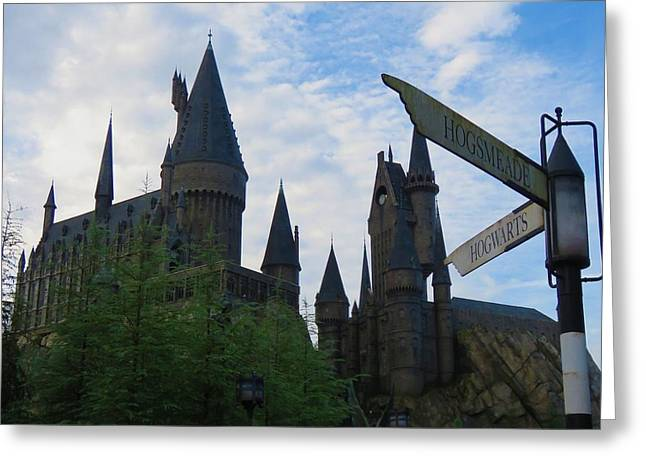Hogwarts Castle With Signs Greeting Card