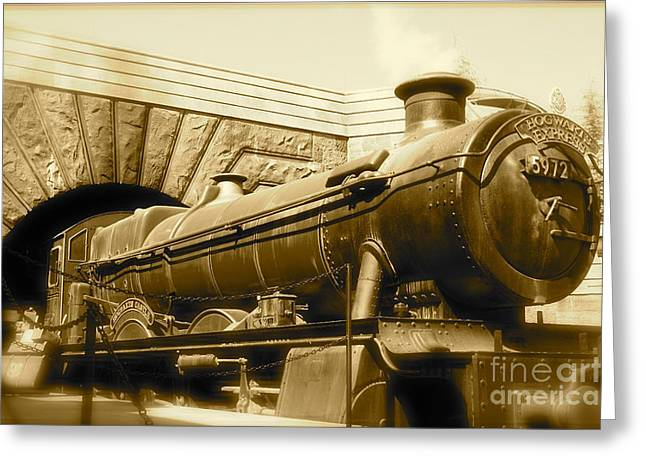 Hogwarts Express Sepia 1 Greeting Card by Shelley Overton