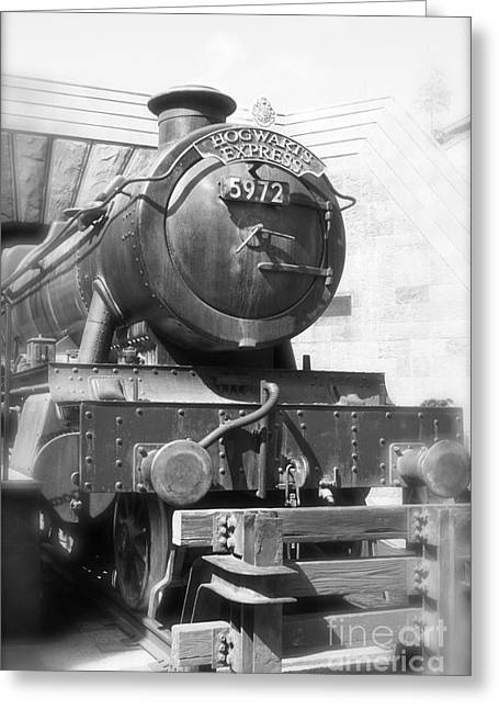 Hogwarts Express Train Closeup Black And White Greeting Card