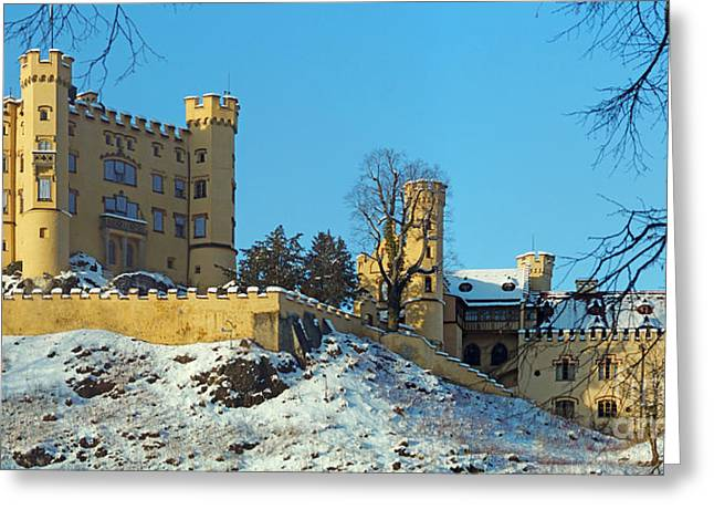 Hohenschwangau Castle Panorama In Winter Greeting Card by Rudi Prott