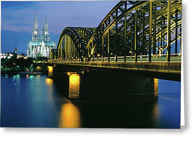 Hohenzollern Bridge And Cologne Greeting Card by Panoramic Images