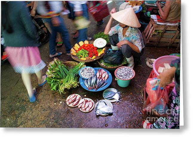 Hoi An Market Greeting Card by Stuart Row