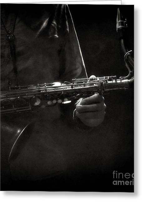 Hold On To Your Sax Greeting Card by Michel Verhoef