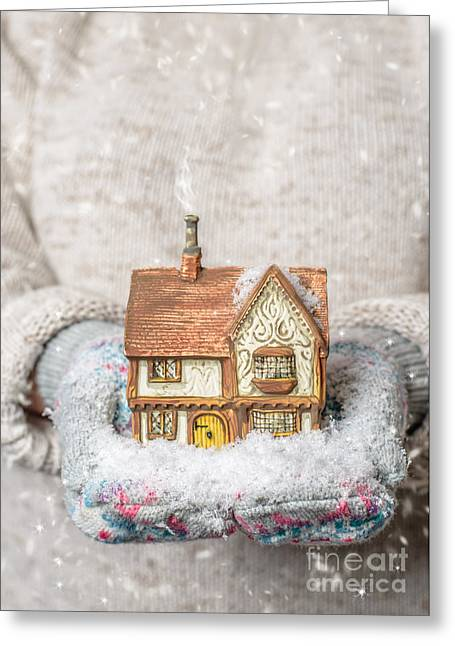 Holding Country Cottage Greeting Card by Amanda Elwell