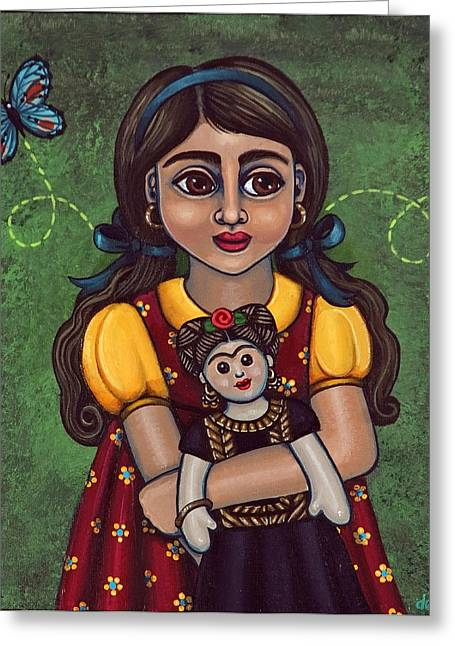 Holding Frida Greeting Card by Victoria De Almeida